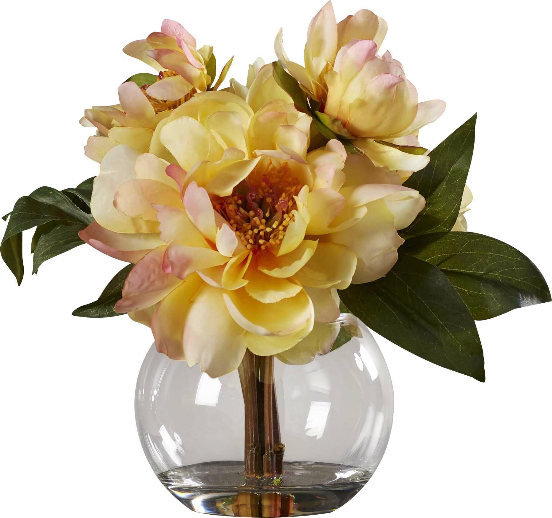 Yellow Peonies in Acrylic Water Vase & Reviews | Joss & Main