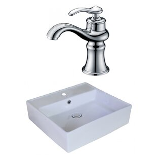 Top Brands of Above Counter Ceramic Square Vessel Bathroom Sink with Faucet and Overflow By Royal Purple Bath Kitchen