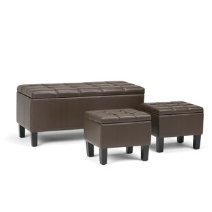 Dover 3 Piece Faux Leather Storage Bench by Simpli Home