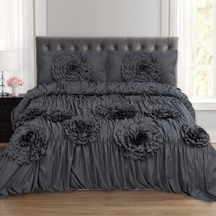 Talitha Ruched Fancy Floral 3 Piece Duvet Cover Set