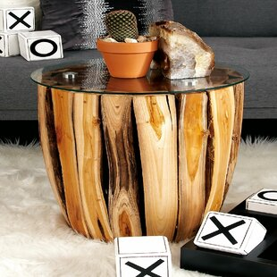 Find the perfect Nuzzo Teak And Glass End Table By Union Rustic
