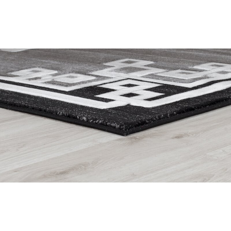 Mercer41 Burnam Power Loom Black Gray Rug Wayfair
