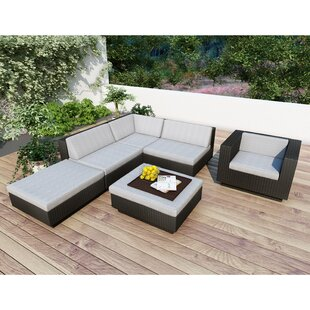 Beach Grove Park Terrace 6 Piece Rattan Sunbrella Sectional Set with Cushions