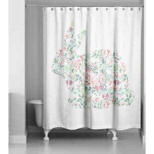 Criswell Floral Tranquil Rabbit Single Shower Curtain