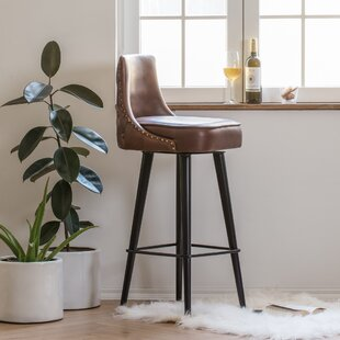 Sansom Leather 32 Swivel Bar Stool by Foundry Select