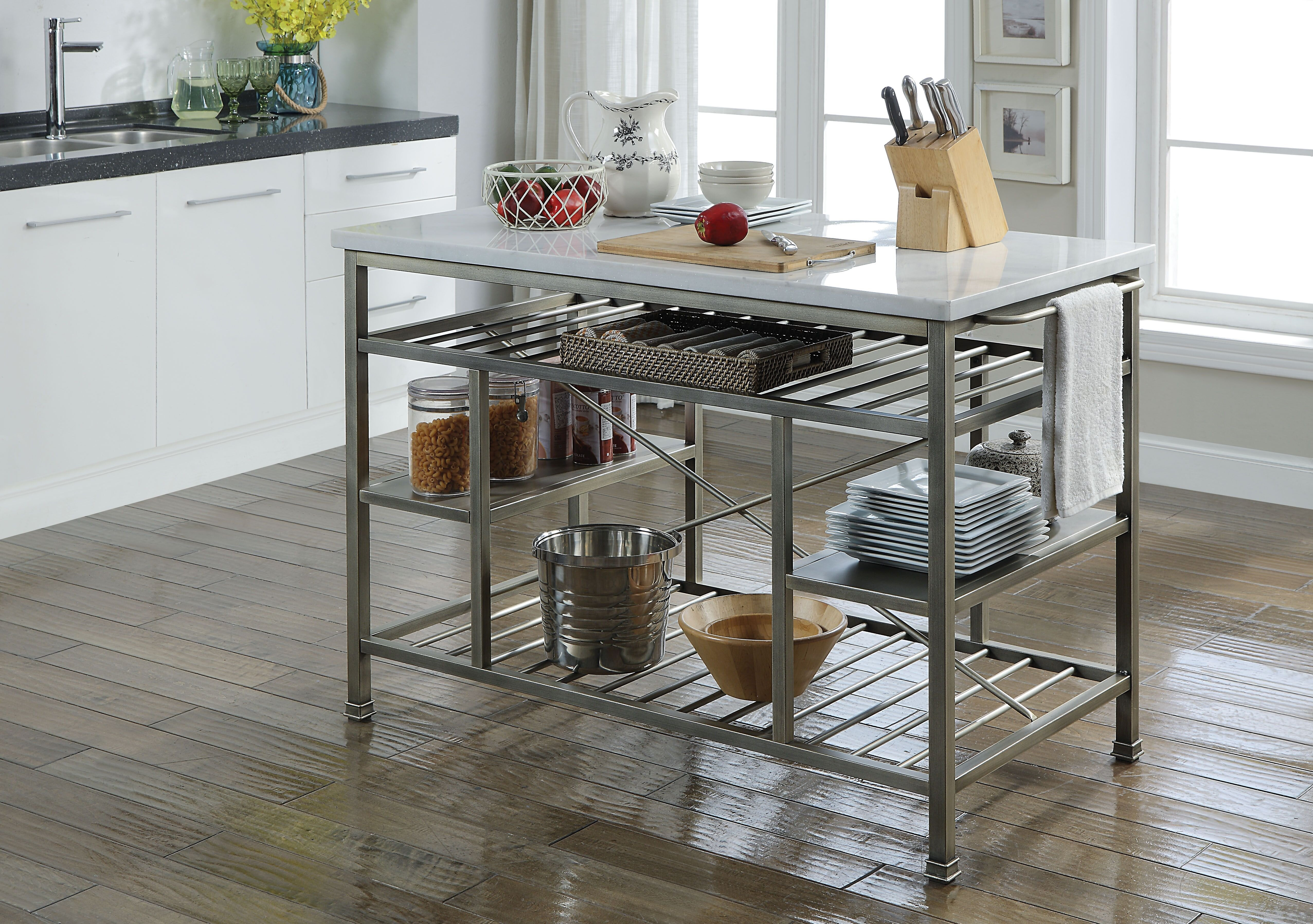 17 Stories Konnor Marble Top Kitchen Island With Towel Rack And Open Compartments Wayfair