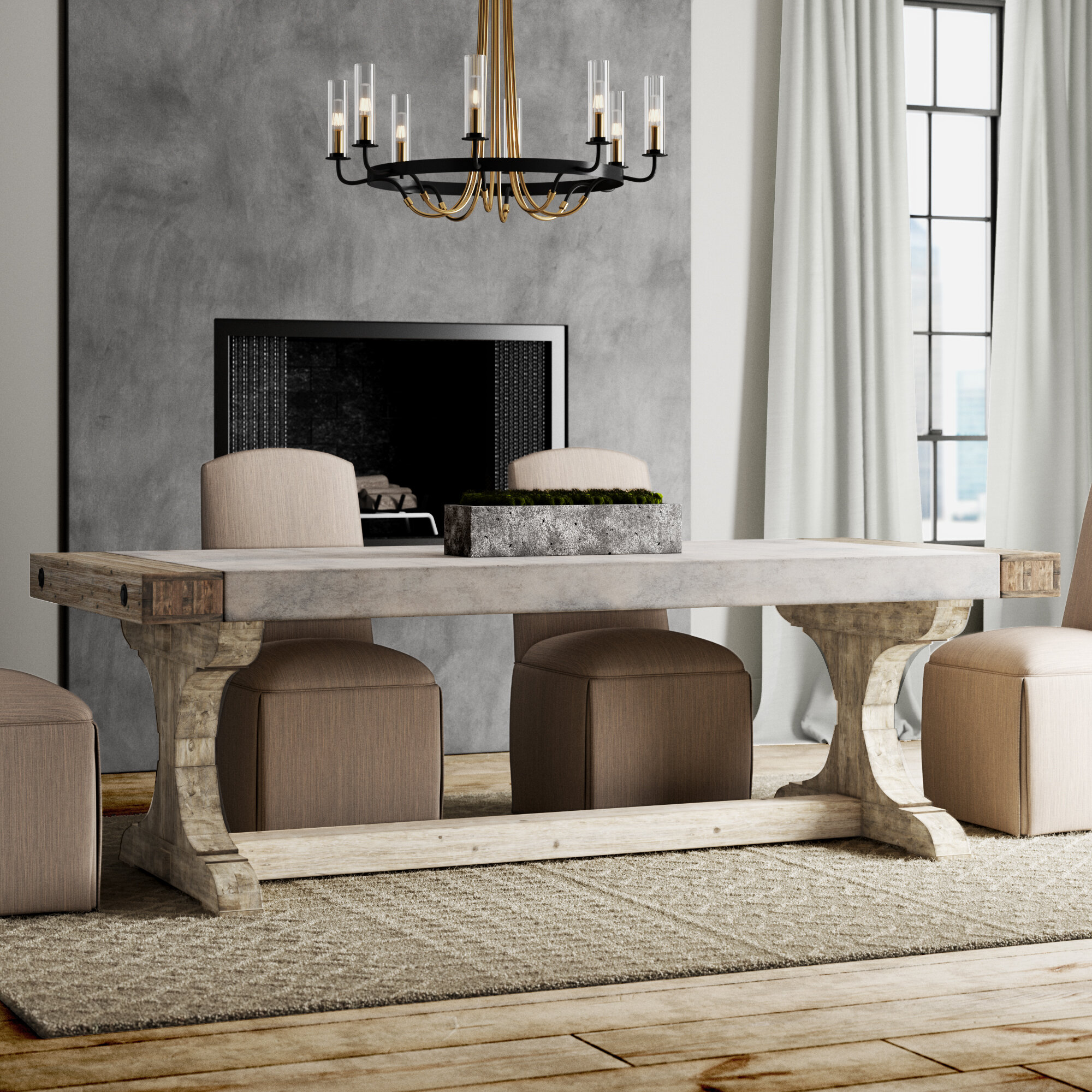Greyleigh Crisp Concrete And Wood Dining Table Reviews Wayfair