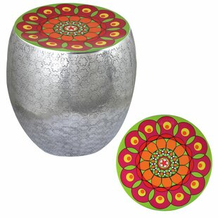 Nizar Flower Kaleidoscope Accent Stool by Bungalow Rose