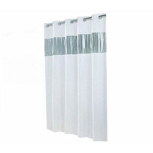 Jepsen Hookless Shower Curtain With Clear Vinyl Window