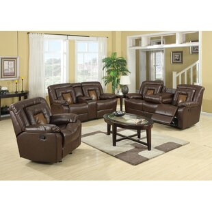 Alice Reclining Leather 3 Piece Living Room Set