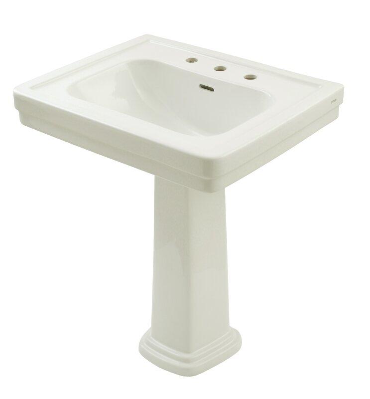 """Bathroom Sinks Reviews toto promenade 28"""" pedestal bathroom sink with overflow & reviews"""