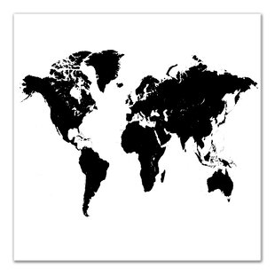 World map black and white wayfair black silhouette world map graphic art print on wrapped canvas gumiabroncs Choice Image