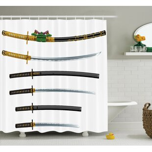 Japanese Set of Asian Swords Shower Curtain + Hooks
