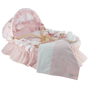 Moses Basket With Egyptian-Quality Cotton Bedding And Canopy