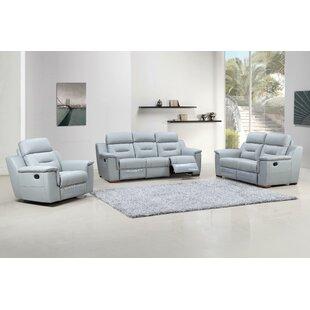 Latitude Run Kreger Air Reclining 3 Piece Leather Living Room (Set of 3)