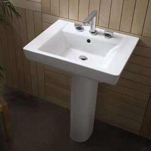 Affordable Boulevard Vitreous China 24 Pedestal Bathroom Sink with Overflow By American Standard