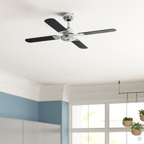 Magnum 42 Ceiling Fan in Black and Chrome with Remote Control