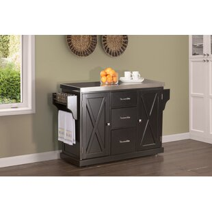 Gracie Oaks Jax Kitchen Island with Stainless Steel Top
