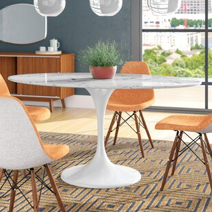 Inexpensive Kylee Artificial Marble Oval-Shaped Dining Table By Langley Street