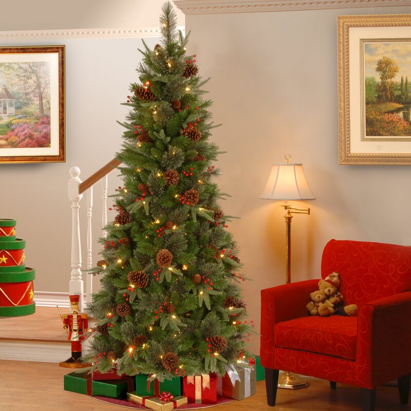 75 green slim artificial christmas tree with 400 clear lights and stand - Skinny Artificial Christmas Trees