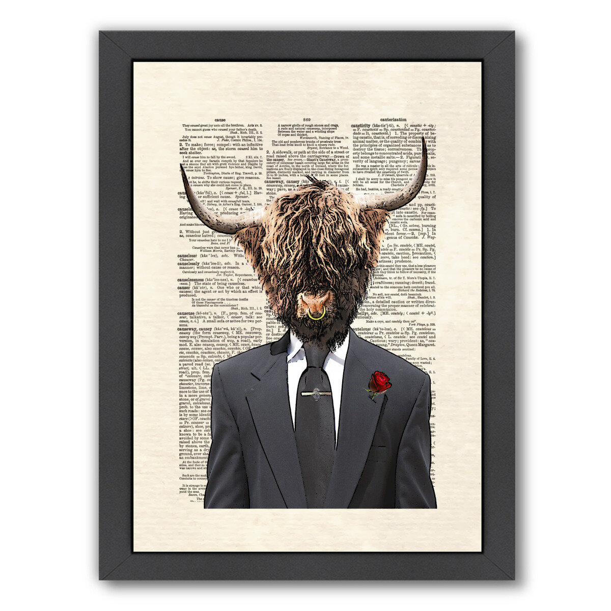East Urban Home Highlandbull Man Framed Graphic Art Wayfair