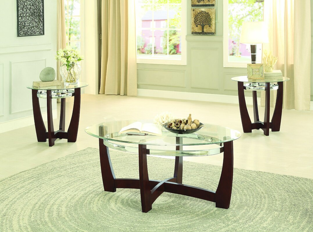 Glass coffee table sets youll love wayfair catalina 3 piece coffee table set geotapseo Gallery