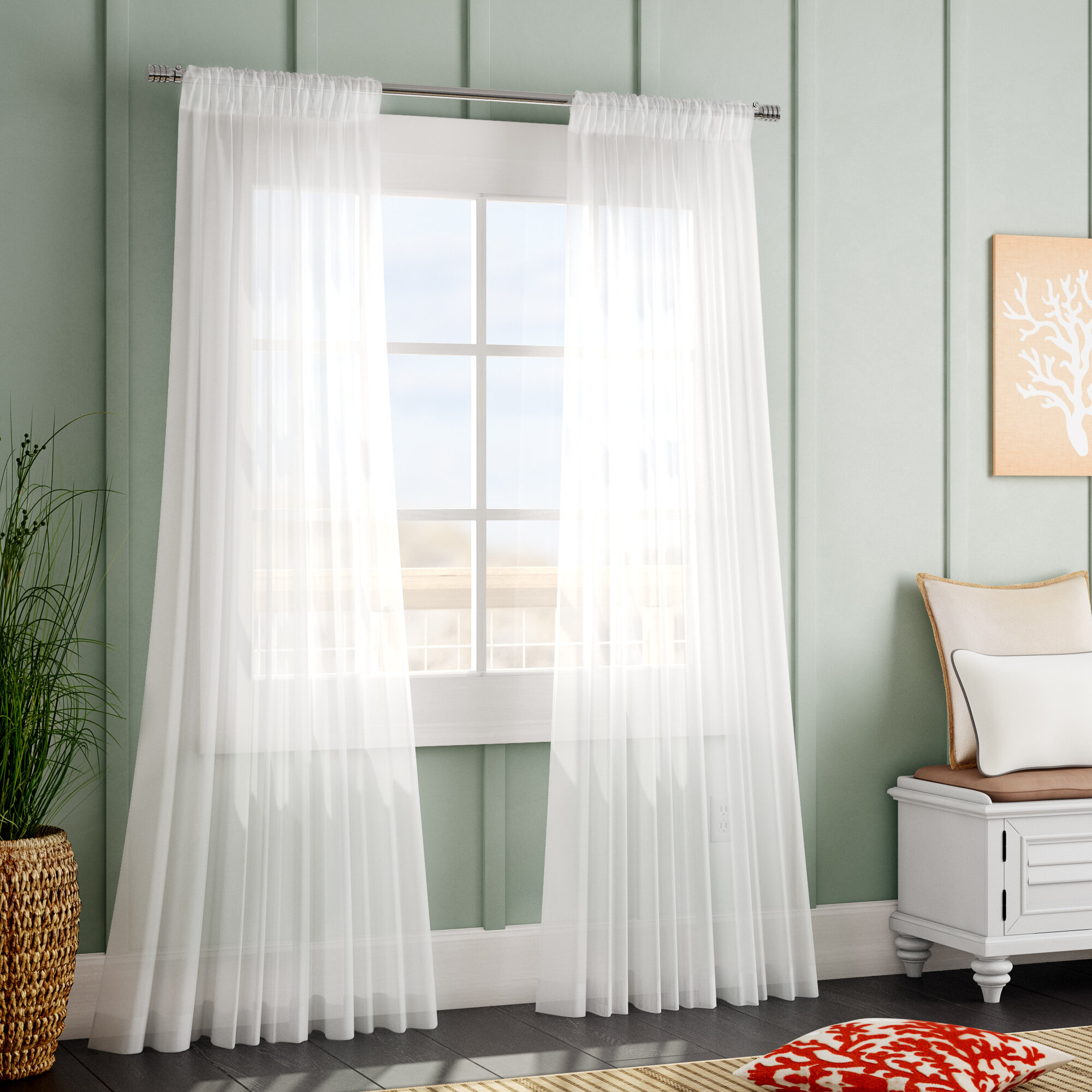 Beachcrest Home Tiya Double Layered Synthetic Solid Sheer Rod Pocket Single Curtain Panel Reviews Wayfair