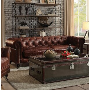 Drage Leather Sofa Canora Grey