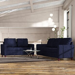 Anglin Solid Raisin Fabric Modern 2 Piece Living Room Set by Wrought Studio