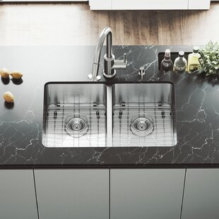 VIGO 29 inch Undermount 50/50 Double Bowl 16 Gauge Stainless Steel Kitchen Sink with Astor Stainless Steel Faucet, Two Grids, Two Strainers and Soap Dispenser