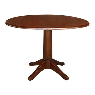Angelia Drop Leaf Solid Wood Dining Table by Canora Grey