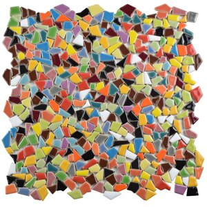 Mareado Random Sized Ceramic Mosaic Tile in Red/Orange
