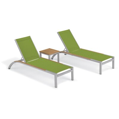 Brayden Studio Saint-Pierre 3 Piece Reclining Chaise Lounge with Table Color: Go Green