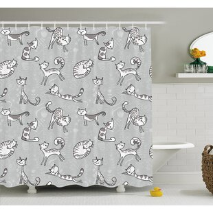 Cute Cat Figures Posing over Floral Background Shower Curtain Set