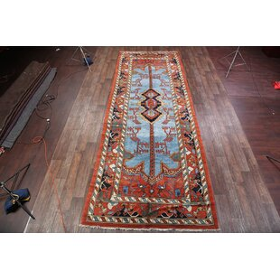 One-of-a-Kind Takengon Heriz Traditional Persian Hand-Knotted Runner 6'11 x 19'2 Wool Orange/Blue Area Rug by Isabelline