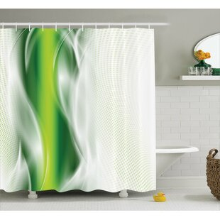Aaron Cool Wavy Floral Shower Curtain + Hooks