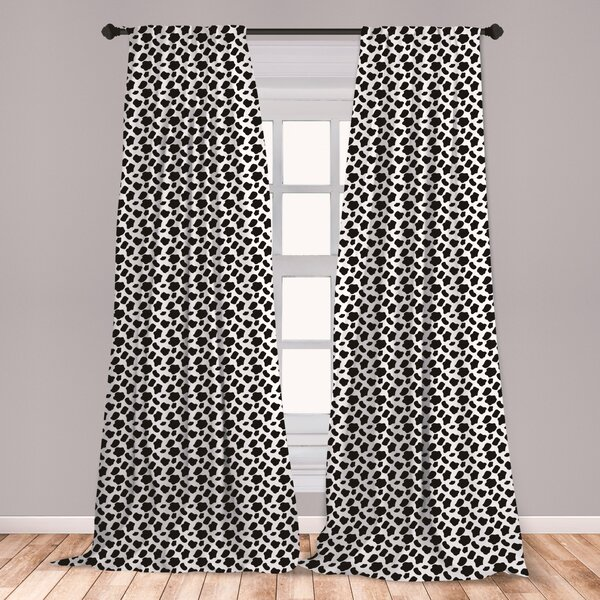 One Pair Of AFRICA Textured Animal Stripe Eyelet Ringtop Header Lined Curtains