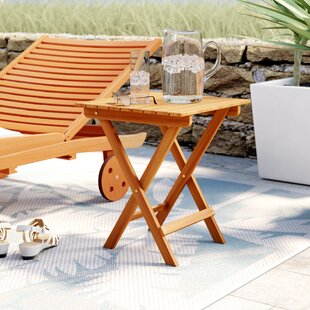 Beachcrest Home Nesler Folding Wooden Side Table