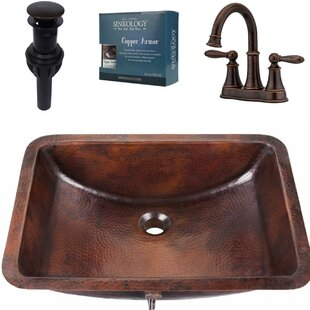 Sinkology Curie and Courant All-in-One Metal Rectangular Undermount Bathroom Sink with Faucet and Overflow