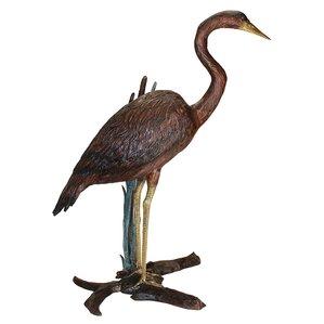 Standing Heron In Reeds Garden Statue