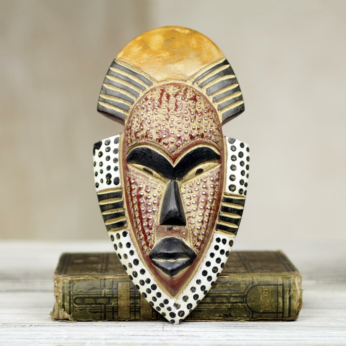 Fair Trade Ghanas Happiness Hand Carved West African Sese Wood Wall Decor Mask