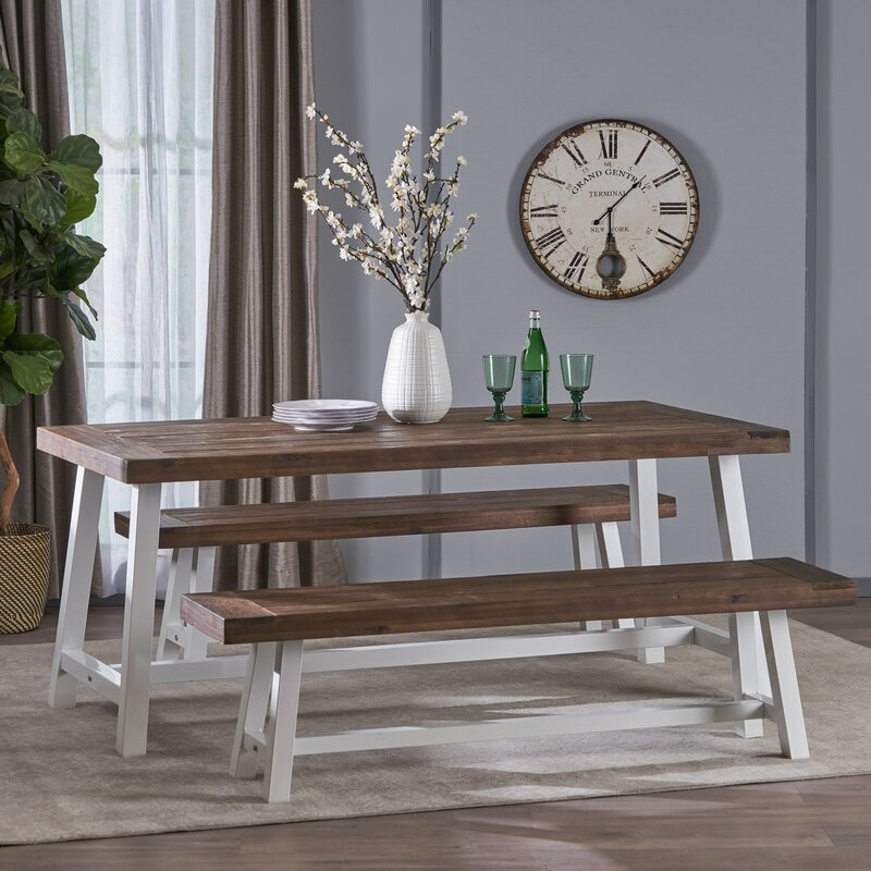 Wondrous Osbourne Indoor Farmhouse 3 Piece Dining Set Gmtry Best Dining Table And Chair Ideas Images Gmtryco