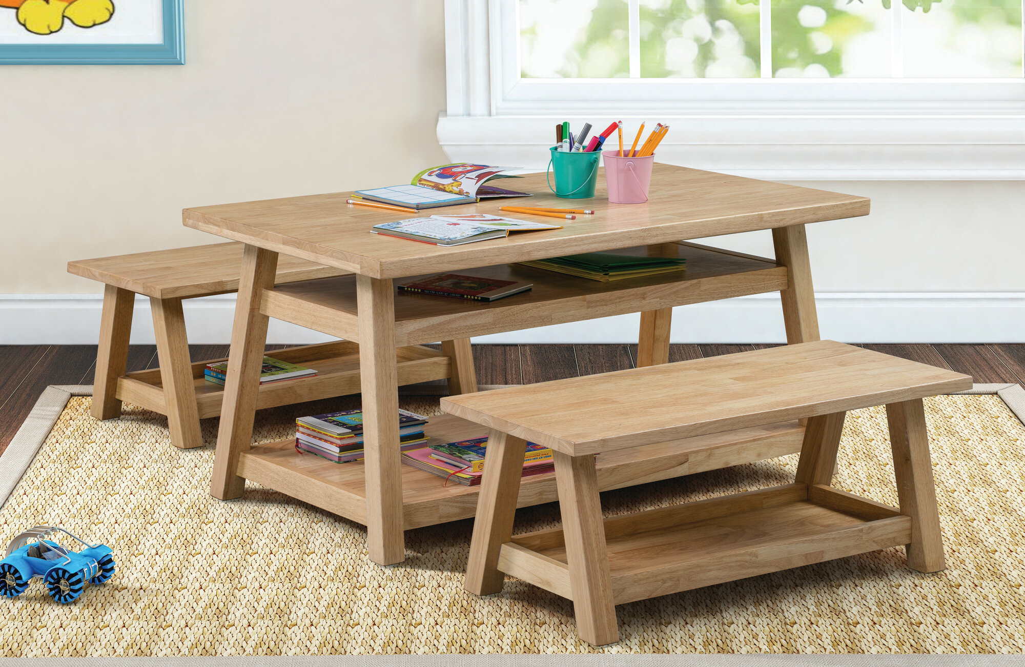 Stupendous Sit N Stash Kids 3 Piece Writing Table And Bench Set Customarchery Wood Chair Design Ideas Customarcherynet