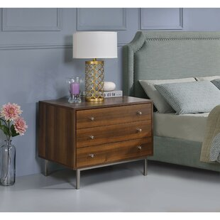 Savings Trinidad Wooden 3 Drawer Nightstand by Orren Ellis
