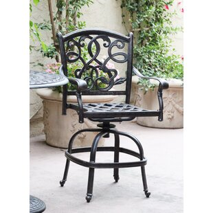 Windley Patio Counter Height Swivel Bar Stool with Cushion (Set of 6) (Set of 6)