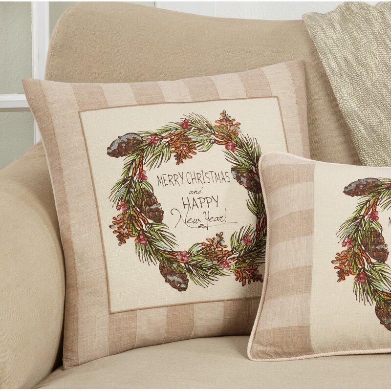 The Holiday Aisle Losada Happy Cotton Throw Pillow Cover Insert Wayfair