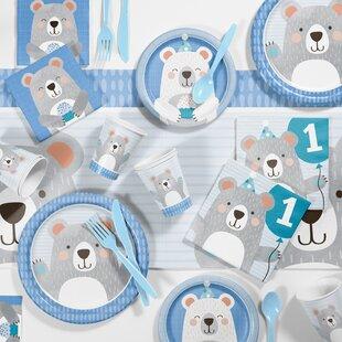 Mchugh Bear 1st Birthday Paper/Plastic Party Supplies Kit