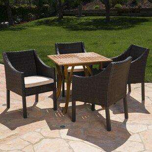 Wrought Studio Guerrera Teresa Outdoor Acacia Wood/Wicker 5 Piece Dining Set with Cushions