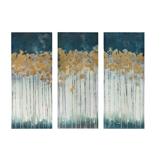 Midnight Forest Gel Coat Canvas Wall Art With Gold Foil Embellishment 3 Piece Set