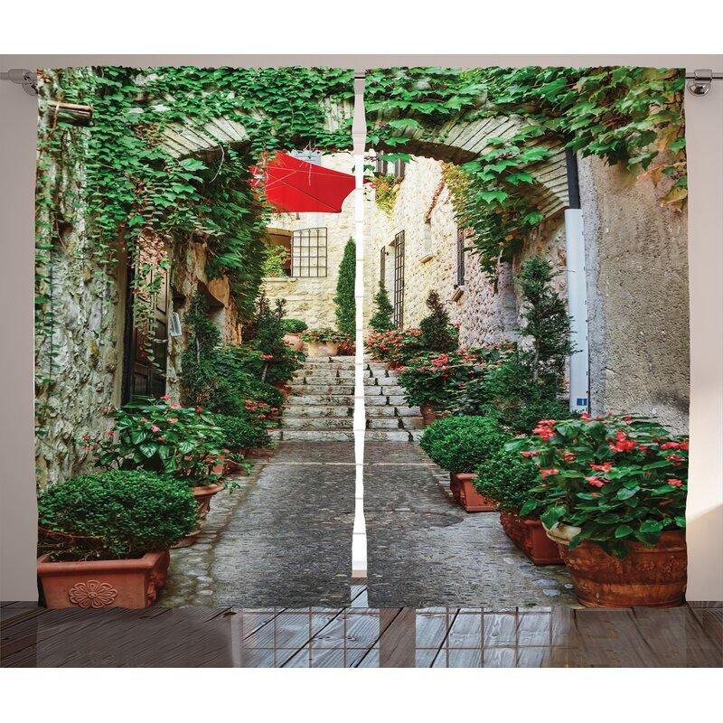 Fleur De Lis Living Arcola Graphic Print Text Semi Sheer Rod Pocket Curtain Panels Wayfair